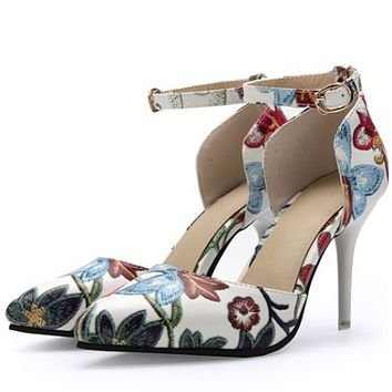 New style shallow mouth broken flower high heel embroider sheet shoes