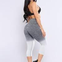 Faded Out Active Leggings - Black/White