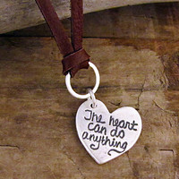 Sterling Silver Heart Necklace Heart Message Jewelry by HANNI