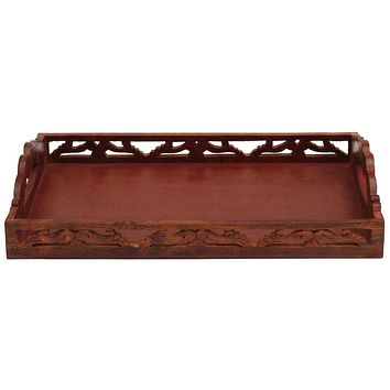 Handmade Wood Serving Tray With Cutout Handles Featuring Brass Inlays By Benzara