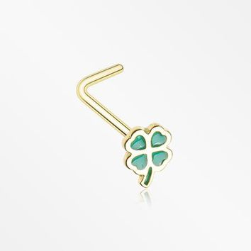 Golden Lucky Four Leaf Clover L-Shaped Nose Ring