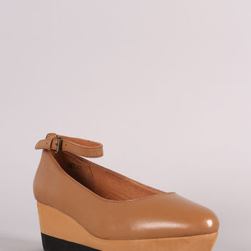 Ankle Strap Leather Flatform Wedge | UrbanOG