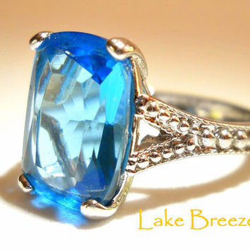 Vintage Ring Blue Topaz Sterling Silver Solitaire sz 8