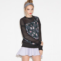 Black Floral Embroidered Mesh Sweater