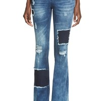 Junior Women's Celebrity Pink Ripped & Repaired Flare Jeans ,