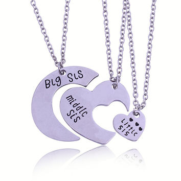 3 Sister Necklace THREE Piece Splice HEART Jigsaw Puzzle Necklace Sets Made  of Alloy Best Friends c9705ff66f9a