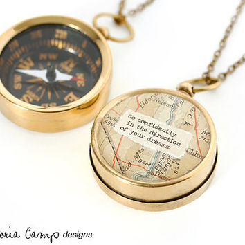 Working Map Compass Necklace - Go Confidently in the Direction of Your Dreams - or Personalized Quote, Travel, Graduation Gift
