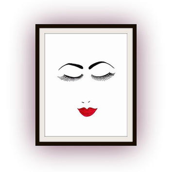 Minimalist woman face watercolor painting,fashion makeup  art decal, Printable vanity Wall decor, decals, girl gifts, lips, eyebrows, lashes