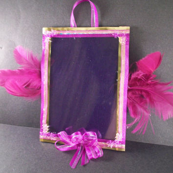 Picture frame 5x7 feathers in purple by WhisperKissCreations