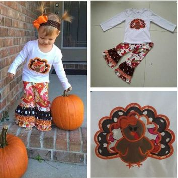 New Arrival Autumn Baby Girls Thanksgiving Clothing Boutique Turkey White Top Print Ruffle Pants Children Boutique Outfits T015