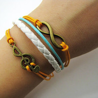 bronze infinity wish pendant Leather and  Ropes Women Cuff Bracelet Unisex bracelet  1112A