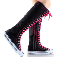 Black with Colored Laces Knee High Lace Up Sneaker Boots