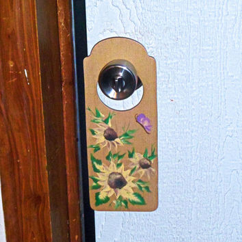 Hand-painted sunflower door knob hanger; Shabby cottage chic yellow & purple door accessory