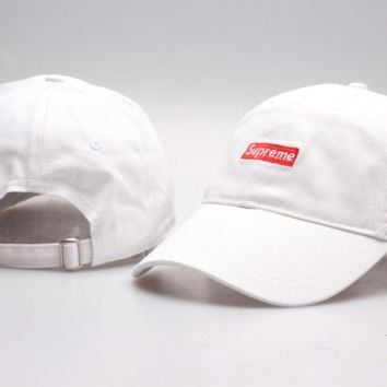 Hot Suprerme Embroidered Cotton Baseball Cap Hats - White