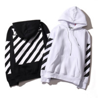 Womens off White Striped Hoodies Sweatshirt