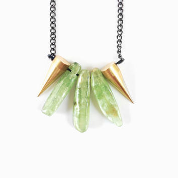 Green Kyanite and Brass Spikes Necklace - Green Kyanite