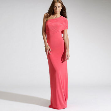 Pink Oblique Shoulder Ruched Bodycon Maxi Dress