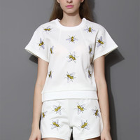 Bees Embroidered Top and Shorts Set in White White
