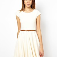 A Wear Textured Skater Dress With Belt
