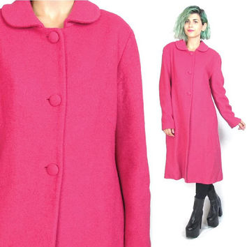 90s Hot Pink Wool Coat Bright Fuschia Winter Princess Coat 60s Style Long Sleeve Button Up Peter Pan Collar Coat (M)