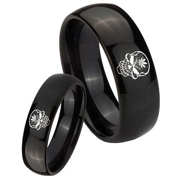 His Her Classic Dome Skull Marijuana Leaf Shiny Black Tungsten Wedding Rings Set
