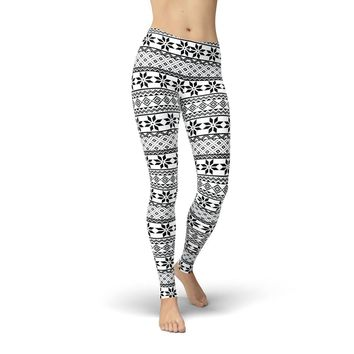 Tonya Black and White Snowflakes Leggings