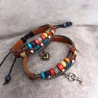 Valentine's Day Love Gifts Handmade wrap leather multi-strand fashion style lock and key pendant couple lover's bangles bracelets jewelry for Men, Women, Teens, Boys and Girls