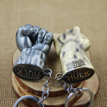 Superhero Hulk Fists Metal Keychain