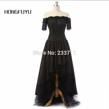 HONGFUYU Charming Marsala Boat Neck Corset Ball Gown Black High Low Lace Long Prom Dresses 2016 Zipper-Up Court Train 59173