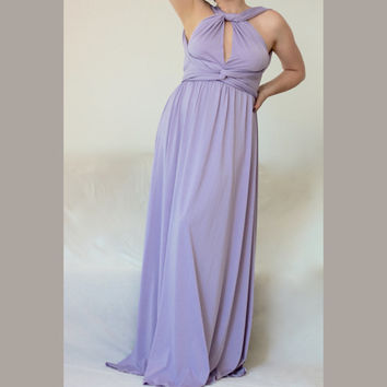 Long Bridesmaid Dress / Wrap Infinity Dress / Lavender Prom Dress / Multi Way Wedding Dress/ Custom order to your size