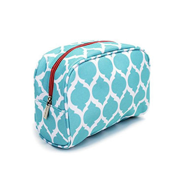 Brooke Teal Quatrefoil 1 Peter 3:4 Canvas-like 8 x 4 inch Cosmetic Bag