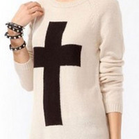 White Cross Pattern Pullover Sweater
