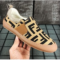 FENDI Slip-On Trending Men Casual Flats Shoes Sneakers Sport Shoes Khaki