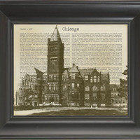 OLD CHICAGO.  Printed on history of Chicago page  -  250Gram paper.