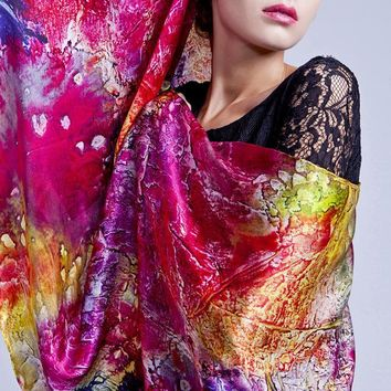 colorful Mulberry Silk Scarf wrap