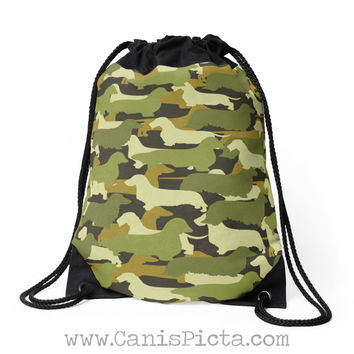 Camo Dachshund Bag Drawstring Backpack Tote Purse Camouflage Army Green Brown Cream Moss Silhouette Long Smooth Wire Hound Doxie Carryall