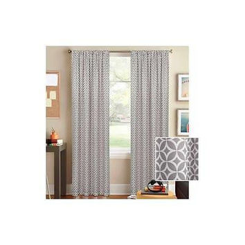 "Bh&G Circles And Diamonds Curtain Panel 52"" X 63"" Gray"