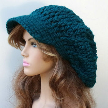 Slouchy Newsboy Visor Dread Tam Cafe teal or you choose color custom Hippie brimmed beanie Hat