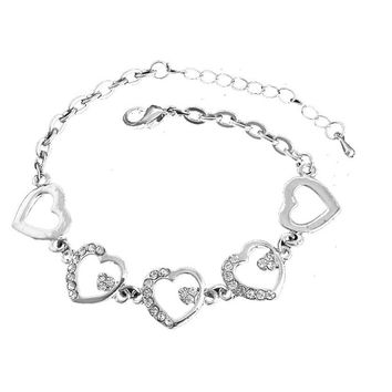 Heart Connectors Rhinestone Fashion Bracelets Bangles