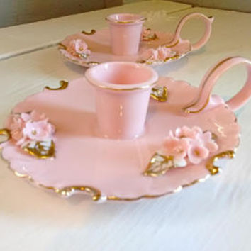 Vintage, Lefton China, Portable, Candlestick Holders, Pink, Floral, Elegant, Shabby Chic, Cottage Chic, RhymeswithDaughter