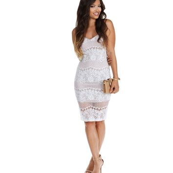 Sale- Ivory Lace Chase Midi Dress