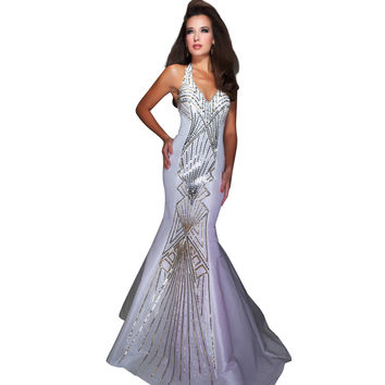 Mac Duggal Glitzy Ivory Fit Flare Halter Sequin Pattern Evening Gown Dress