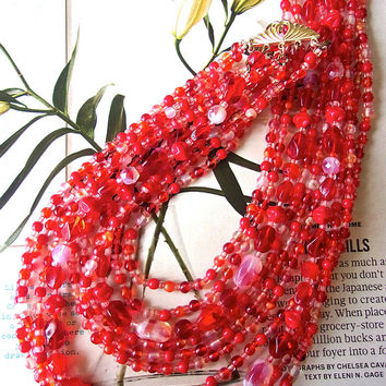 Iridescent Red Pink Glass Bead Necklace, 10 Multi Strand, Givre Beads, Vintage