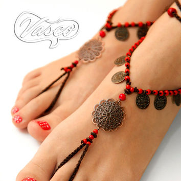 Barefoot Sandal, Crochet Hippie Shoes, Yoga, Oriental, Bellydance