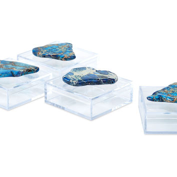 Pill Boxes w/ Blue Jasper, Set of 4, Boxes