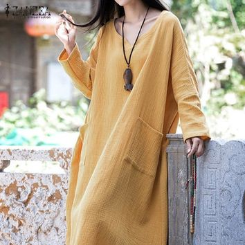 Casual Loose Long Sleeve Cotton Linen Weave Maxi Dress