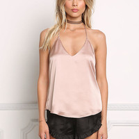 Blush Satin Thin Racerback Cami Top