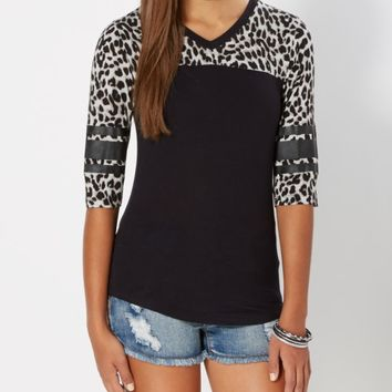 Black Leopard Print Varsity Striped Tee | Short Sleeve | rue21