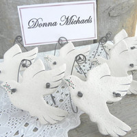Wedding Doves Place Card Holders Salt Dough Ornaments Set of 12