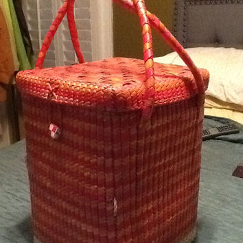 Bright Orange Handwoven Basket